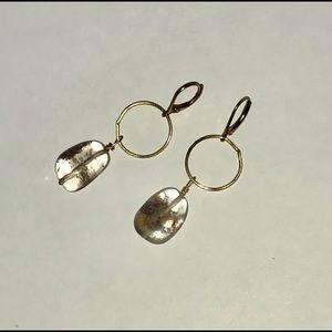 Gray Quartz Earrings on Brass